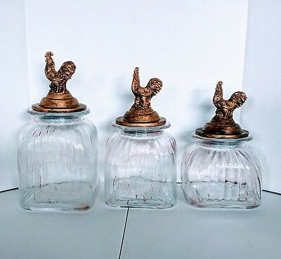 VTG Rooster Chicken Ribbed Glass Canister Apothecary Set of 3 Country Home Decor