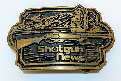Vintage SHOTGUN NEWS Solid Brass Belt Buckle Pheasant Hunting DynaBuckle Utah