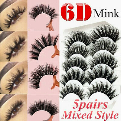 6D Mink Eyelashes 5 Pairs Natural False Fake Long Thick Handmade Lashes Makeup
