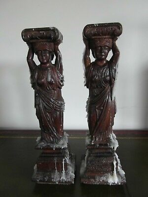 Antique 18th century carved wood continental figures. Candle stands