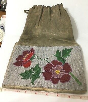 indian beaded bag, very old,