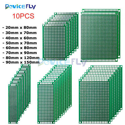 10PCS Double Side Prototype PCB Tinned Universal Breadboard 2x8cm - 9x15cm