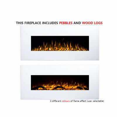 """New White 50"""" Wall Mounted Electric Fireplace LED Flame Heater Pebble WoodLogs"""