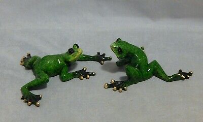 2 Marbled Resin Frog Figurines