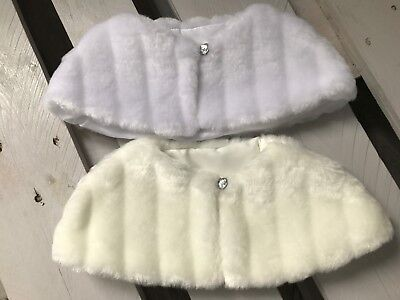 Christening Baptism Kids Faux Fur Cape Shrug Bolero Jacket Diamante 6-12 months