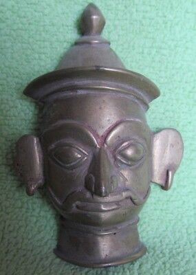 Old Vintage Tribal Indian Hindu God Shiva Head Bronze Statue Religious Figurine