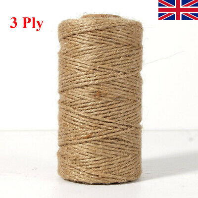 100m 3Ply Soft Natural Brown Jute Hessians Burlap Rustic Twine Sisal String Cord