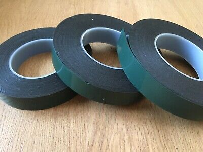 Double Sided Black Adhesive Foam Tape 25mm X 10 Mtrs Green Backing
