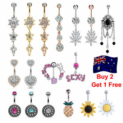 Navel Belly Ring Rhinestone Button Bar Barbell Body Piercing Jewelry Dangle Gift