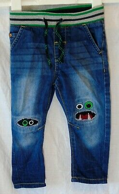 Baby Boys Next Blue Whiskered Denim Embroidered Monsters Jeans Age 12-18 Months