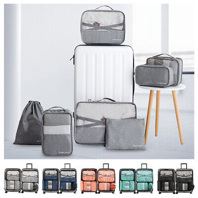 Set Of 7 Pieces Luggage Organiser Suitcase Storage Bags Packing Travel Cubes