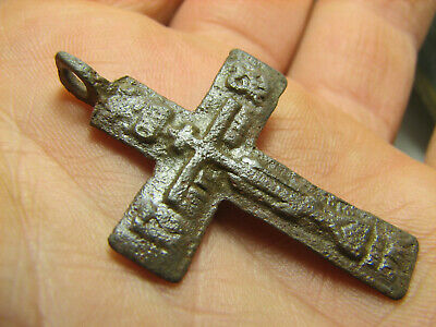 Rare !  Big ! Relief ! Nice Late Medieval Orthodox Bronze Cross Pendant #1055