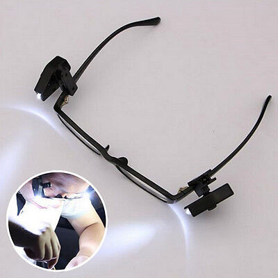 Universal Flexible LED Eyeglass Clip On Safety Glasses Reading lights Tool Deco