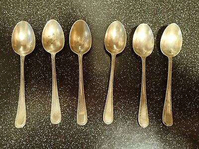 6 x Antique Silver Plated Tea Spoons Approx length 11cm  Hallmark EPNS