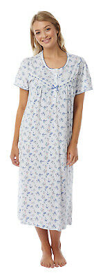 Ladies 100% Cotton Short Sleeve Nightie/Nightdress Coral or Blue Size 8-26
