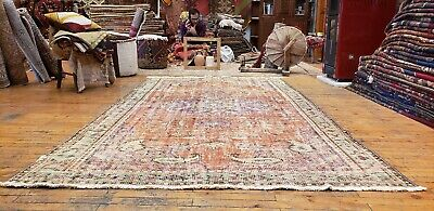 "Primitive Antique Cr1900-1939s Natural Dye Wool Pile Oushak Area Rug 5'5""x9'3"""