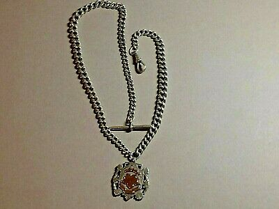 Antique Solid Silver Graduated Albert Pocket Watch Chain & Fob, 1898, 58.68,gms