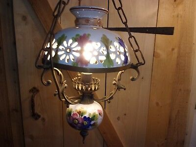 Vintage brass and porcelain ceramic Country French chandelier ceiling light