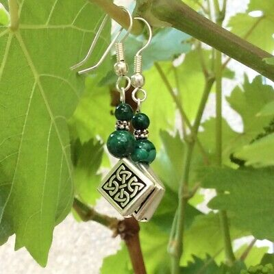 Malachite earrings Celtic knot design. Traditional Irish jewelry gift