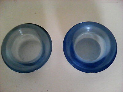 2 Antique Blue Glass Candlestick Holders