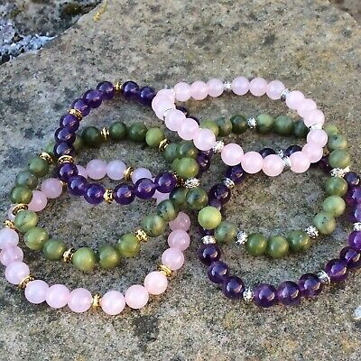 Connemara marble or Amethyst or Rose Quartz bracelet with gold or silver plated