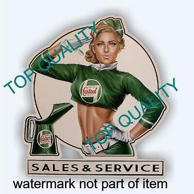 VINTAGE CASTROL PIN UP GIRL Decal Sticker Vintage Man Cave Hot Rod Stickers