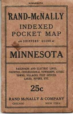RAND-McNALLY INDEXED POCKET MAP AND SHIPPERS' GUIDE OF MINNESOTA Railroads 1915