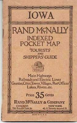 RAND-McNALLY INDEXED POCKET MAP TOURISTS' AND SHIPPERS' GUIDE OF IOWA Railroads