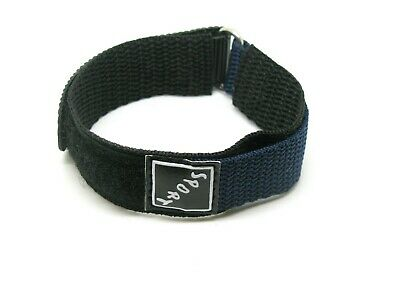 Watch Strap, Hook & Loop One Piece, Sport, Fabric, Nylon, 20mm Navy Blue & Black