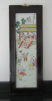 Chinese Famille Rose Painted Porcelain Large Wood Plaque - Signed