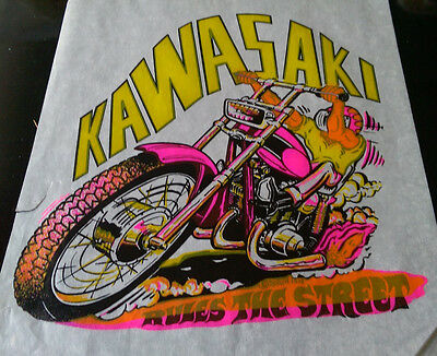 Vintage SUPER Rare  Kawasaki  Rules  Iron-On Transfer by Roach Classic  DAY GLO