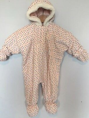 79faef104 Vintage Marks & Spencer Baby Girl's Ditsy Print Snowsuit Pink 3-6 M Mittens  Wb