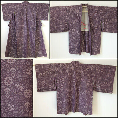 Japanese kimono & haori set for women, purple, medium, Japan import (AD1983)