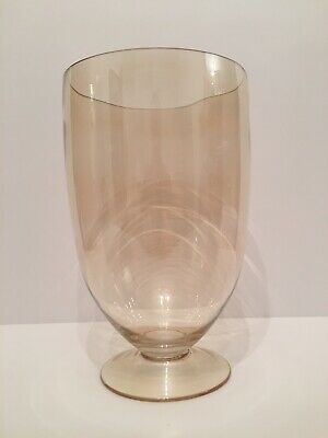 Mid Century Large Brown Tinted Glass Vase / Candle Holder 26cm High - 16cm D