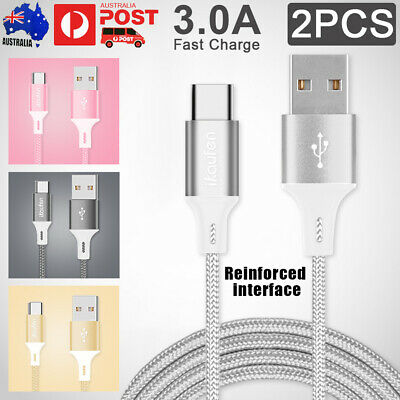 2x 3A Braided Type-C USB 3.1 Fast Charger Cable Data Sync For Samsung Galaxy S9