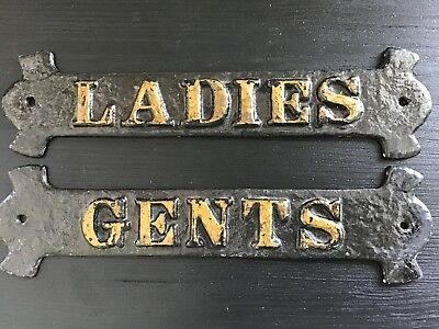 Pair Of Original Blackpool Cast Iron 'Ladies' & 'Gents' Toilet Plaques.