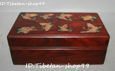 China Red Sandalwood Wood inlay Shell Jade Butterfly Storage Box Jewelry Case
