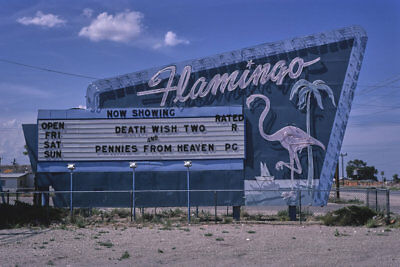 Flamingo Drive-in Movie Theater Sign Hobbs NM New Mexico 1982 View 8x12 photo