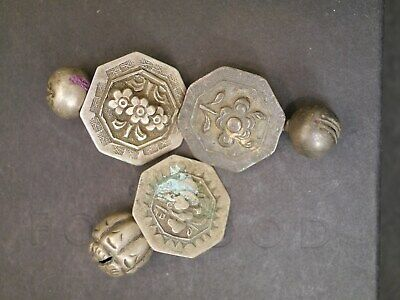 3 Antique Chinese Qing Dynasty Silver Imperial Robe Flower Buttons W/ Charms
