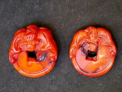2 Vintage Chinese Red Coral Carved Bat & Coin Pendants Of Dyed Bamboo Coral