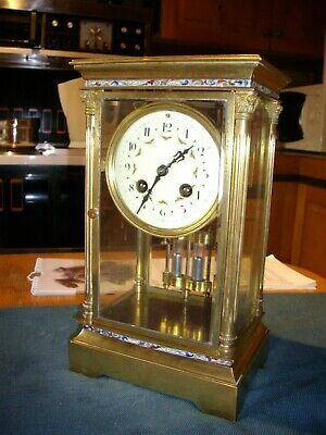Unusual and pretty French 4 glass 8 day clock. W/Order. NO RESERVE