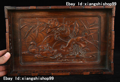 Collect China Huanghuali Wood handcrafted Lotus mandarin duck design Plate Tray
