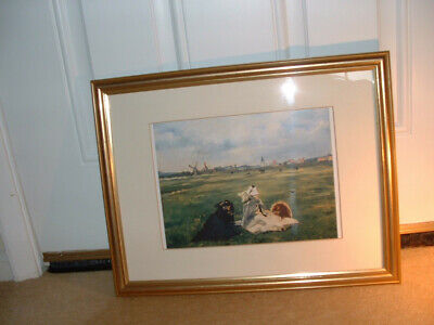 Print of the painting The Swallows by Edouard Manet, gold frame, ready to hang