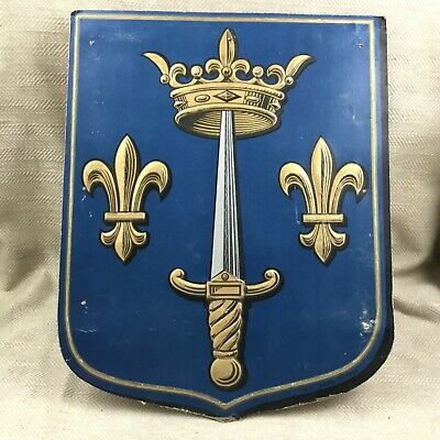 Antique Wall Plaque French Armorial Crest Arms Lyon Flag Holder Blazon Shield