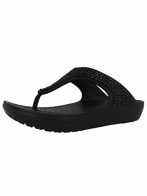 51a6d41da CROCS WOMENS SLOANE Embellished Flip Flop Sandals, Black/Black, US 9 ...