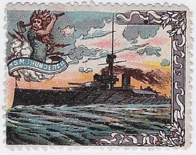 "Delandre Cinderella stamp: British WWI, Royal Navy ""HMS Thunderer""- cw48.11"