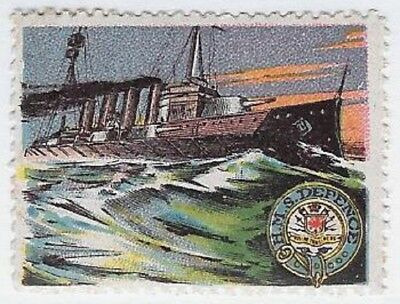 "France Delandre Cinderella stamp: British WWI, Royal Navy ""HMS Defence""- cw48.9"