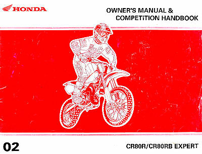 2002 Honda Cr80R Cr80Rb Motocross Motorcycle Owners Competition Handbook Manual