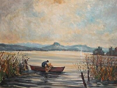 1965 Impressionist Oil Painting Lake Landscape Fisherman Boat Signed