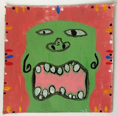 Tiki Head Mask Face Portrait Outsider Art Beer Box Original Painting Signed 8x8